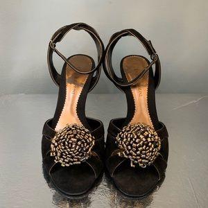 Enzo Angiolini Eajosine black/bronze suede heels